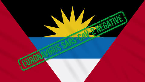 Antigua and Barbuda swaying flag with green stamp of freedom from coronavirus Animation
