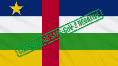 Central African Republic swaying flag with green stamp of freedom from Animation