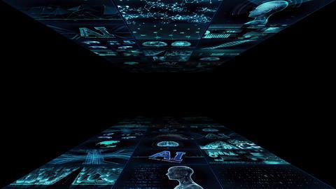 Digital Network TechnologYAI artificial intelligence data concepts Background YA1 3x3 blue Animation