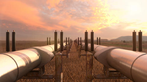 Two gas pipelines with lng and crude oil Animation
