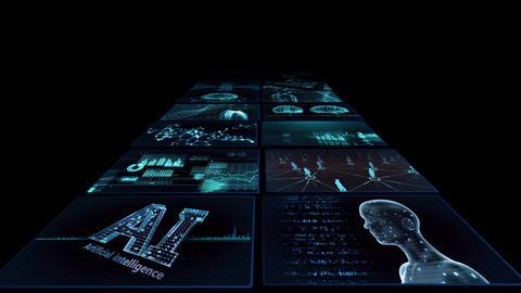 Digital Network TechnologYAI artificial intelligence data concepts Background YB2 2x2 blue Animation