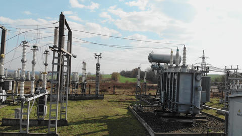 High voltage electrical substation. High voltage power plant for a small town Live Action