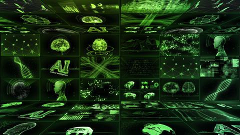 Digital Network TechnologYAI artificial intelligence data concepts Background YE1 3x3 green Animation