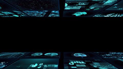 Digital Network TechnologYAI artificial intelligence data concepts Background YD1 2x2 blue Animation