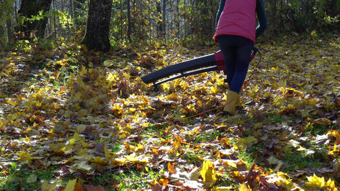 Strong gardener girl fighting autumn leaves in her garden yard with leaf blower Live Action