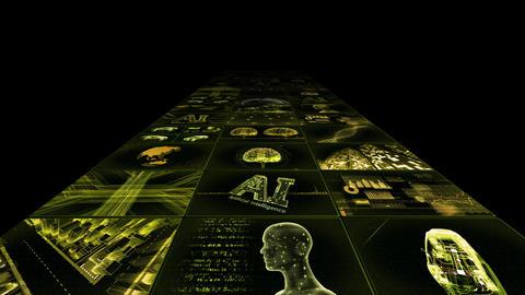 Digital Network TechnologYAI artificial intelligence data concepts Background YB1 3x3 yellow Animation