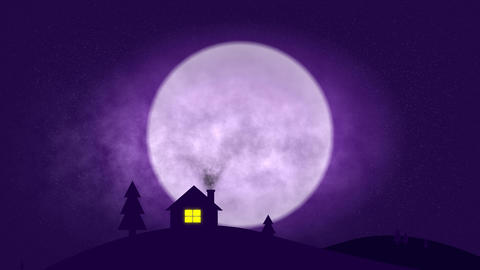 house in night with dramatic moon - 4k CG動画