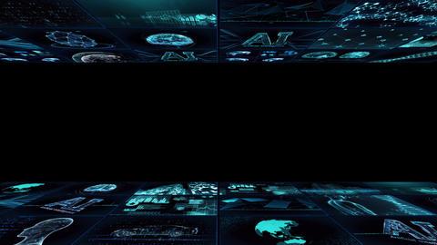 Digital Network TechnologYAI artificial intelligence data concepts Background YD1 3x3 blue Animation