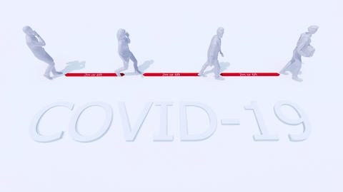 Abstract 3D people keep safe distance in virus COVID-19 Videos animados