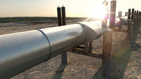Gas oil pipeline with natural gas or refinery oil Animation