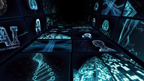Digital Network TechnologYAI artificial intelligence data concepts Background Y-TC1 2x2 blue Animation