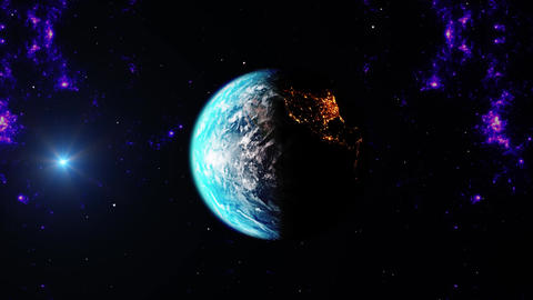 Close-up view of Blue Earth space at Night and Day Live Action