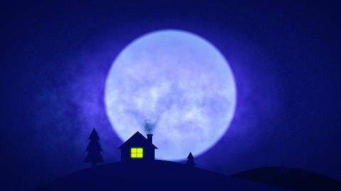 house in night with dramatic moon - 4k Animation