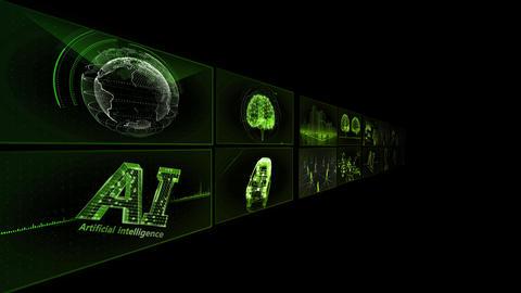Digital Network TechnologYAI artificial intelligence data concepts Background TB1 2x2 green Animation