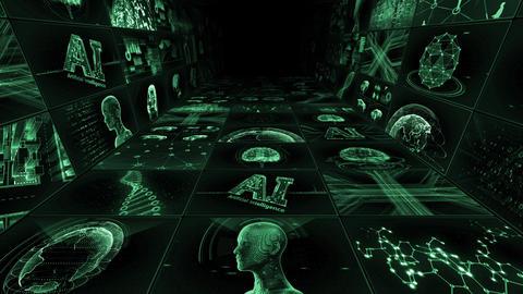 Digital Network TechnologYAI artificial intelligence data concepts Background Y-TC1 3x3 green Animation