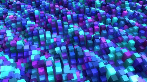 Rainbow Waves Of Cubes Animation
