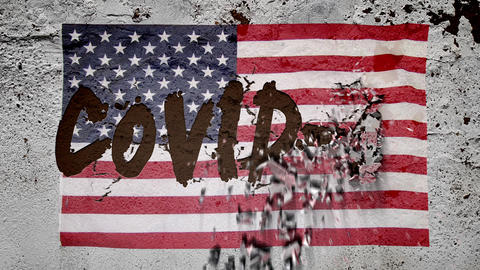 On the textured concrete wall appears an inscription with the American flag: COVID-19, the concrete Live Action