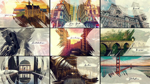 City.Travel. Creative Brush Strokes v2 After Effects Template