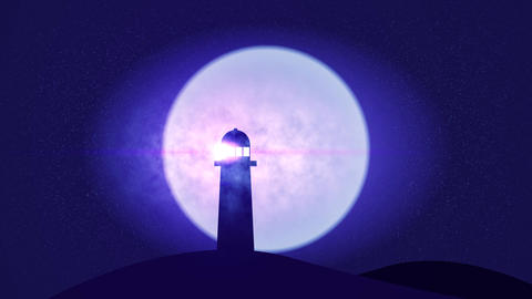 Light House in starry night with smoke and shooting stars Blue Animation