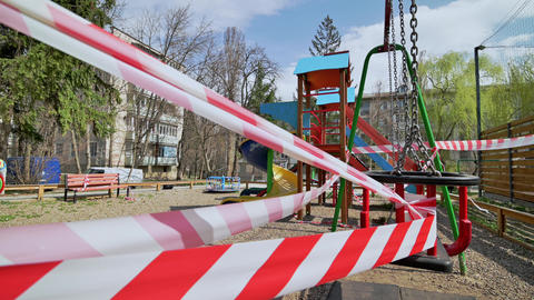 Blocked children playground in Chisinau, Moldova during covid-19 virus threat Live Action