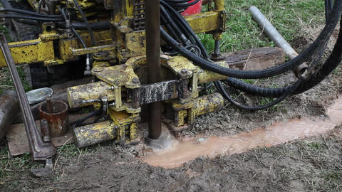 Drilling machinery in action for geognostic probing Live Action
