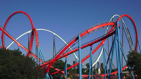 Multiple Roller Coasters At Theme Park Live Action