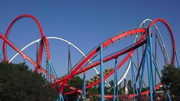 Steel Roller Coaster At Amusement Park Live Action
