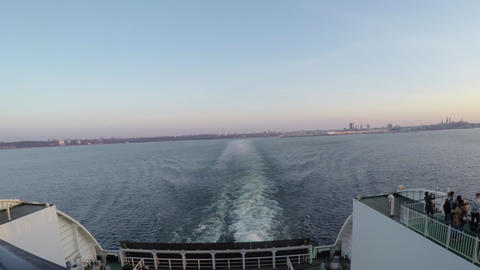 Time-lapse of a ferry leaving Tallinn city, in estonia and heading towards Helsi Footage