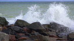 Rocky Shore and Splash of the Surf. Slow Motion Footage