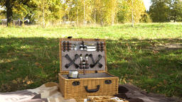 Wooden basket for picnic Footage