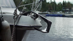 anchor on Moored boat Footage
