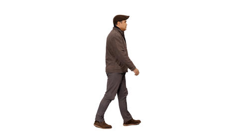 Side view of a asian man in casual wear walking, 4k shot with alpha channel Footage