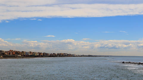 Clouds over the coast. Ostia, Rome, Italy. Time Lapse Footage