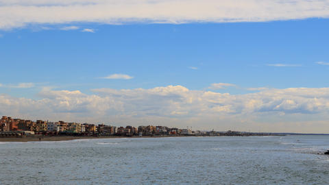 Clouds over the shoreline of Ostia, Rome, Italy. Timelapse Footage