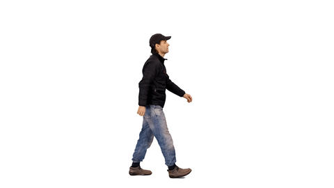 A man in casual wear walking on transparent background, 4k shot alpha channel Footage