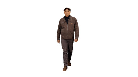 Front view of a man walking on transparent background, 4k shot alpha channel Live Action