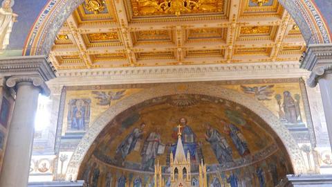 Altarpiece of Basilica di San Paolo fuori le Mura. Rome, Italy Footage
