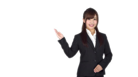 Young Japanese business woman shows Footage