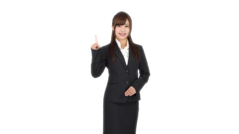 Young Japanese business woman points Footage