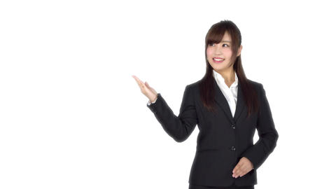 Young Japanese business woman shows Live Action