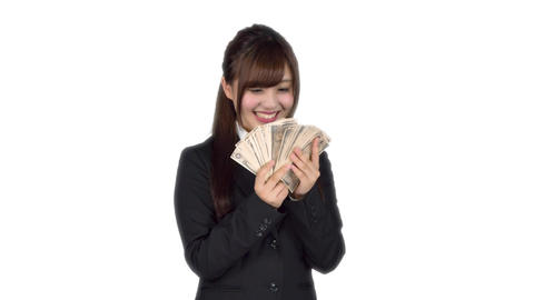 Young Japanese business woman counting money Footage