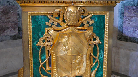 Coat of arms in the Basilica of St. Paul Outside the Walls. Rome, Italy Footage