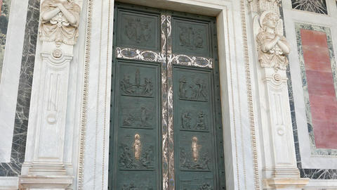 The doors to the Basilica of St. Paul Outside the Walls. Rome, Italy Footage