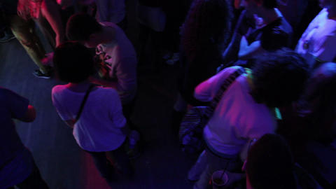 Nightlife of young people, night club atmosphere, guys hang out Footage