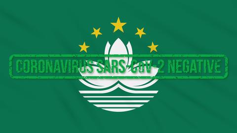Macau swaying flag with green stamp of freedom from coronavirus, loop Animation