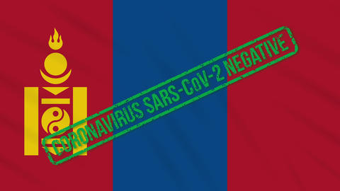 Mongolia swaying flag with green stamp of freedom from coronavirus, loop Animation