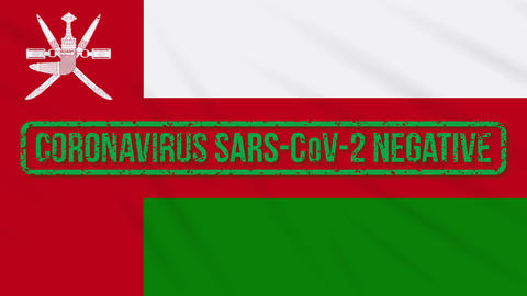 Oman swaying flag with green stamp of freedom from coronavirus, loop Animation