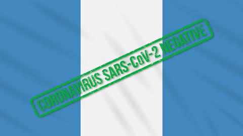 Guatemala swaying flag with green stamp of freedom from coronavirus, loop Animation