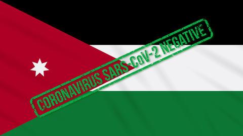 Jordan swaying flag with green stamp of freedom from coronavirus, loop Animation