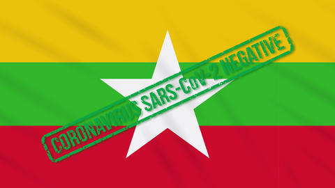 Myanmar swaying flag with green stamp of freedom from coronavirus, loop Animation